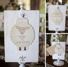 Vintage Lamb Themed Neutral Baby Shower | Jennifer Jones Photography | Gender Neutral | Rustic | cream | burlap | baby shower | vintage | typography | shower invitations
