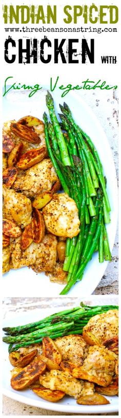 Indian Spiced Chicken with Spring Vegetables - asparagus, fingerlings & shallots. Flavored by freshly ground mustard, cumin & coriander. Paleo, gluten free.