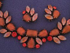 Vintage Elsa Schiaparelli Necklace Clip Earring Set Givre Opal Rhinestone | eBay