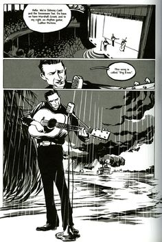 A page from Reinhard Kleist's biographical graphic novel about Johnny Cash called Johnny Cash: I see a Darkness. I love the way the art can visually show you what Cash's music could make you feel. Tattoo Shading, Classic Comics, Comic Page, Johnny Cash, Custom Leather, Magazine Art, Super Powers, Novels, Feelings