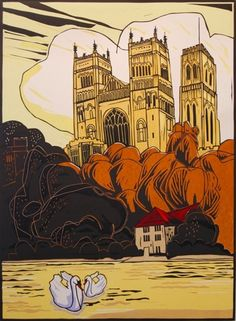 Durham Cathedral, three block linocut print. Edition of 100 | Colin Moore