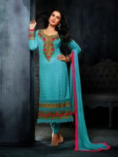 Light Blue Georgette Suit With Resham And Zari Embroidery Work (With Santone Inner) www.saree.com