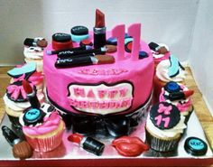 M.A.C. Themed Make-Up Birthday Caje with Matching Cupcakes