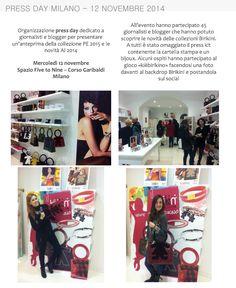 Il 12 Novembre 2014 si è tenuto a Milano il press day in cui è stata presentata in anteprima la collezione PE2015 e le novità AI 2014. www.ibirikini.com - info@ibirikini.com
