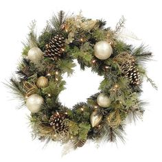 Faux Decorated Pinecone Wreath