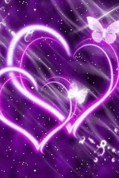 purple neon hearts on purple background