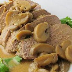 Garlic Pork Tenderloin with Mushroom Gravy Allrecipes.com