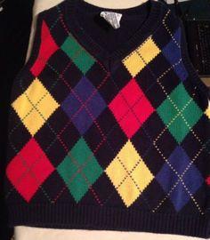 Boys Talbot Kids Blue Red Green Yellow Argyle Sweater Vest Cotton Size 4/5 $9.99 #talbotkids #boysclothing