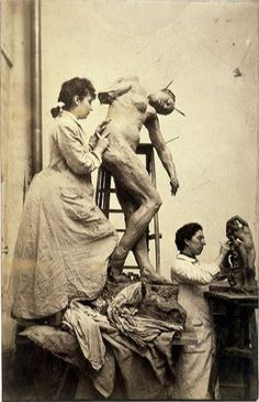 Camille Claudel working to Sakountala in her Workshop, 1887 - was a French sculptor and graphic artist.