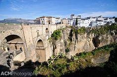 Ronda, Andalusia - Our hotel the third to the right from the bridge in the brighter white. Views out over the gorge. Stunning.