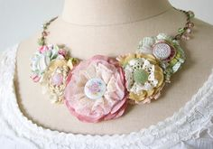 Pastel Garden Fabric Flower Necklace - Unique Floral Jewelry