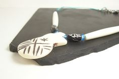 Bone Tribal Style Necklace with Sterling Silver - Blue, Black, White and Turquoise by InspirationByFlorna, $34.00