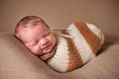 Camel Brown Cream Newborn Knit Swaddle Sack | Beautiful Photo Props