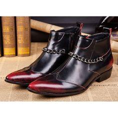 Men Burgundy Leather Gothic Punk Rock Hipster Fashion Dress Boots SKU-1280561