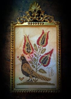 Queen Esther's Pure Heart ~ Cross Stitch Valentine's Day Bird Pattern/Chart from Scattered Seed Samplers© 2015 by Designer Tammy Black
