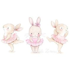 Nursery illustration bunny ballerina