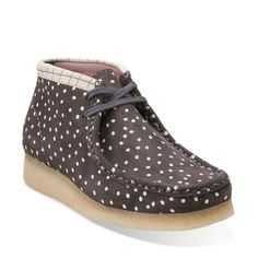 Wallabee Boot. Grey/White Grid - Clarks Womens Shoes - Womens Heels and Flats - Clarks - Clarks® Shoes