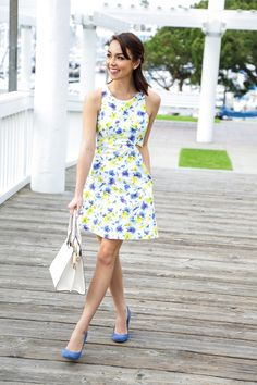 Florals aren't just for spring anymore, especially with a pop of  summery ocean blue.