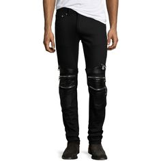 God's Masterful Children Chain Biker Skinny Jeans (1.020 BRL) ❤ liked on Polyvore featuring men's fashion, men's clothing, men's jeans, black, mens skinny biker jeans, mens fitted jeans, mens button fly jeans, mens biker jeans and mens super skinny jeans