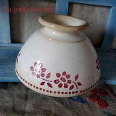 Bol ancien en faïence Digoin n° 9299 frise florale framboise