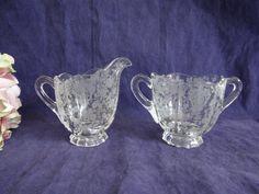 1930s Cambridge Rosepoint Etched Glass Individual Creamer and Sugar Set - 3900 - Cambridge Glass Co - Cambridge Ohio by SecondWindShop on Etsy