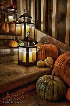 Autumn porch decorations with pumpkins and lanterns, Halloween, Thanksgiving, Fall Thanksgiving Decorations, Seasonal Decor, Halloween Decorations, Holiday Decor, Turkey Decorations, Halloween Lanterns, Outdoor Decorations, House Decorations, Thanksgiving Ideas