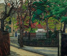 """"""" Pond square, High Gate, Charles Ginner, 1932 A British artist whose single most important influence was the work of the Dutch post-impressionist Vincent van Gogh. Ginner's style denotes a. London Painting, London Square, Impressionist Artists, Post Impressionism, London Art, East London, Art Uk, Urban Landscape, Landscape Art"""