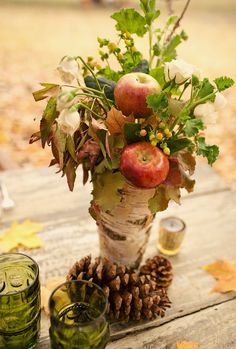 pretty fall floral display with apples