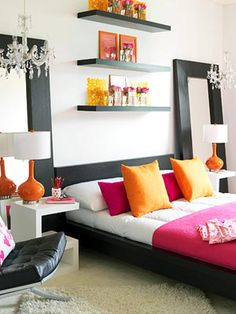 Color pops, mirrors, chandeliers, and shelves