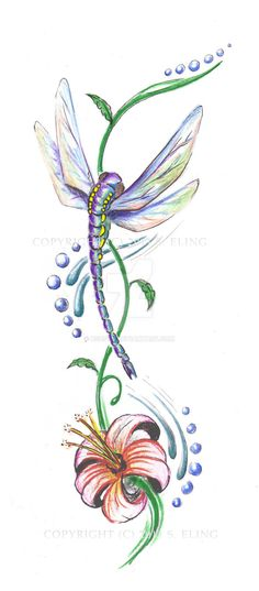 Designed for a large tattoo - Flower rests on hip, dragonfly's wings 'cup' the angle of the ribcage. Symbolic elements to highlight the duality of the dragonfly - affinity to both air and water. Pr...