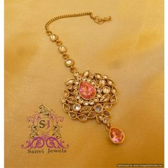 Pink Antique Maang Tikka