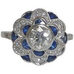 2.14 Carat Diamond Sapphire Platinum Flower Ring