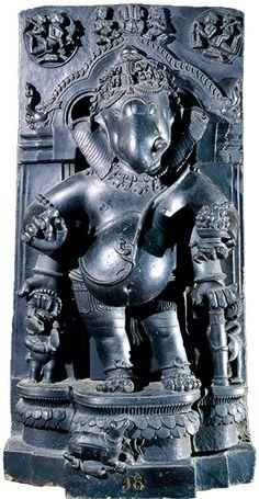 Schist stone figure of Ganesha. From Orissa, India, 13th century AD.