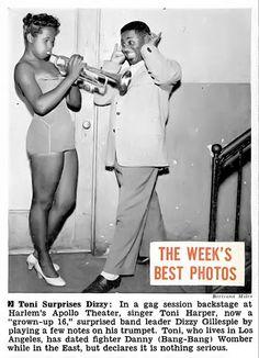 Toni Harper Gives Dizzy Gillespie an Earful - Jet Magazine July 30, 1953