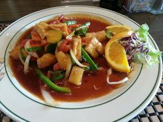 The Sweet and Sour entree with tofu at Thai Orchid in Asheville, NC