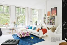 more big windows, tons of white, painted floors, and splashy color accents. Home Living Room, Apartment Living, Living Area, Living Spaces, Pinterest Home, Fashion Room, Dream Rooms, Nilla, Small Apartments