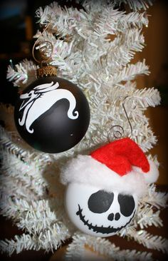Whats this?    A Jack or Zero inspired Christmas Ornament ready for your tree! They were both hand painted and Jacks hat was made by hand!