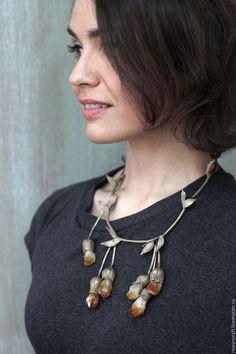 """Купить Колье """"Melandrium citrinum"""" - серебряный, украшения ручной работы, украшение на шею, подарок"""