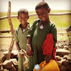 """""""Two happy girls at Gaja Meda School in Ethiopia. Clean water in schools increases attendance, especially for girls. People In Need, Kindred Spirits, Attendance, Happy Girls, Ethiopia, Keep It Cleaner, Schools, Feel Good, Charity"""