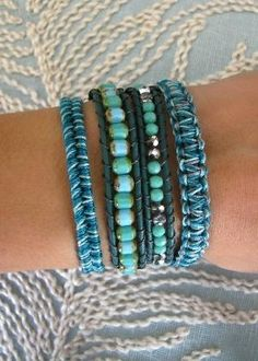 Beaded Wrap Bracelet With Dark Turquoise Leather and a Button Clasp - Shades of Teal Bracelet Wrap, Beaded Wrap Bracelets, Bracelet Making, Jewelry Bracelets, Jewelery, Jewelry Making, Blue Bracelets, Paracord Bracelets, Macrame Bracelets