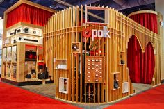 Simple use of dressed (e.g. machine finished as opposed to 'rough' timber) vertical sections for the Polk audio trade show booth