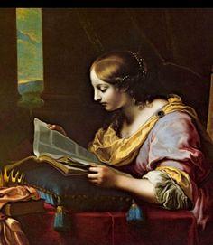 St. Catherine Reading a Book, detail.Carlo (o Carlino) Dolci (1616-1686).Oil on canvas. Residenzgalerie (Salzburg, Austria).