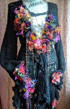 Boho Bohemian asymmetric cardigan fairy sweater coat gypsy