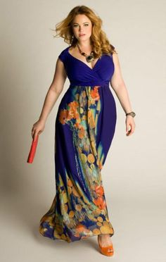 Plus size maxi dresses for full figured fashion conscious ladies looking for flattering summer fashions.