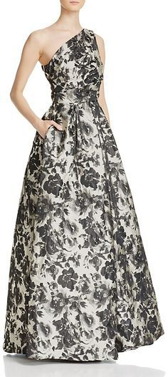7d6c7f82cb0 Carmen Marc Valvo Infusion Printed One-Shoulder Ball Gown