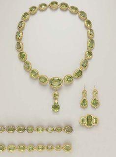 peridot parure | Peridot suite, parure, 1830s, Christie's | Nineteenth Century Jewelry