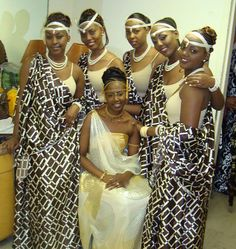 Rwandan bride and bridemaids. Latest African Fashion, African Prints, African fashion styles, African clothing, Nigerian style, Ghanaian fashion, African women dresses, African Bags, African shoes, Nigerian fashion, Ankara, Aso okè, Kenté, brocade etc ~DK