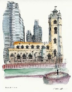 Drawing with fat fingers and a fine pen. Pen And Watercolor, Watercolor Trees, Watercolor Portraits, Watercolor Landscape, Watercolor Painting, Watercolors, Urban Painting, Basic Painting, Ink Pen Drawings
