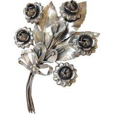 1940's Era Huge Sterling Silver Flower Brooch