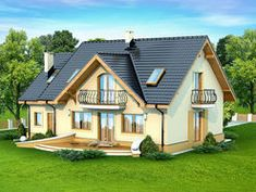 DOM.PL™ - Projekt domu DN Karmelita mała CE - DOM PC1-01 - gotowy koszt budowy Red Roof, Malaga, House Plans, Shed, Farmhouse, Outdoor Structures, House Design, Cabin, How To Plan